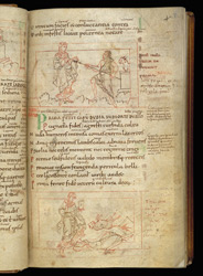 Coloured-Line Drawings Of Faith Confronting Idolatry, And Faith Trampling On Idolatry, In Prudentius's 'Conflict Of The Soul'